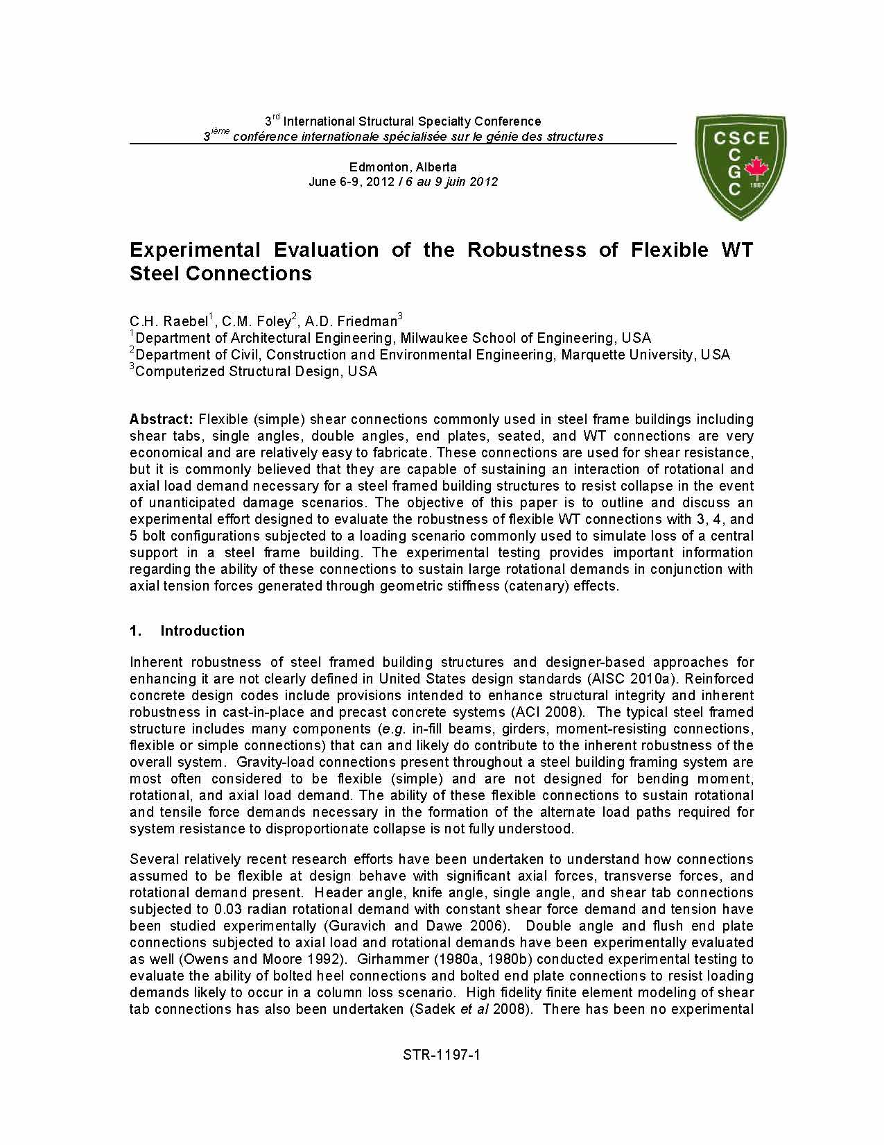 Experimental Evaluation of the Robustness of Flexible WT Steel Connections | CSD Structural Engineers