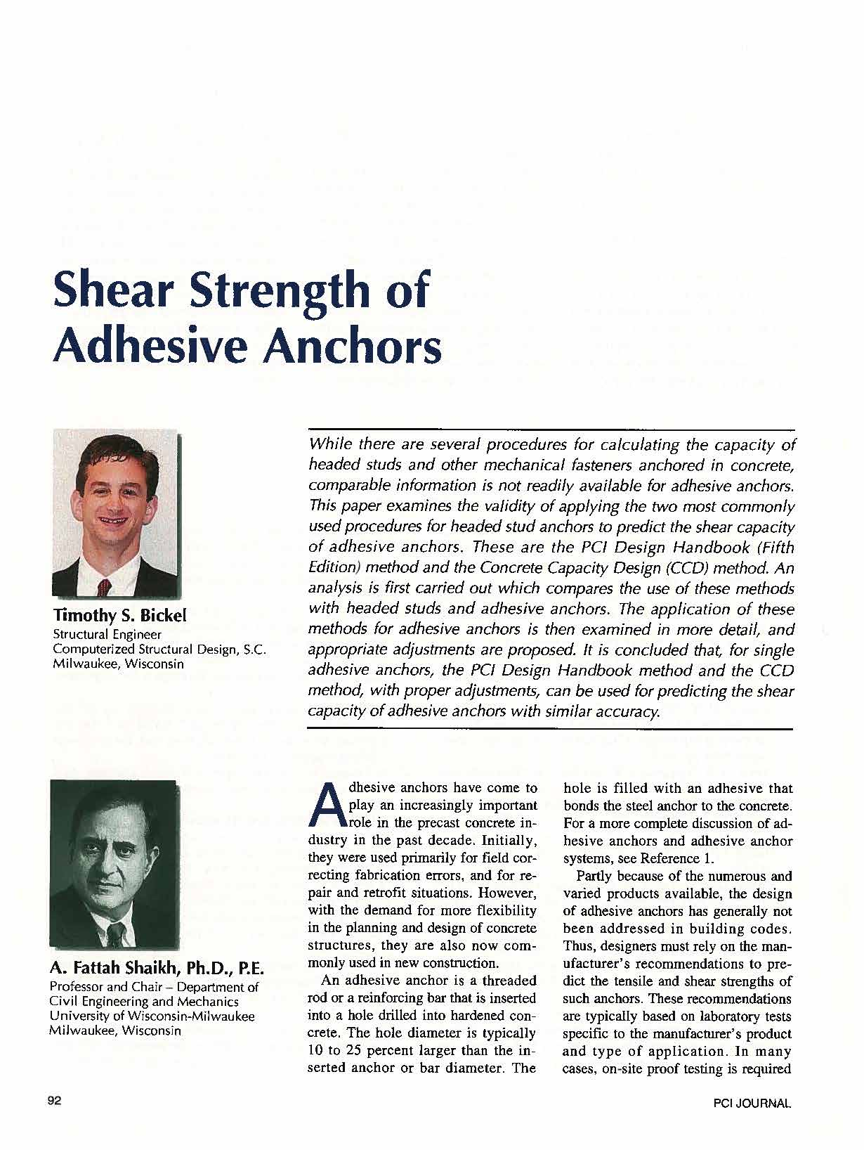 Shear Strength of Adhesive Anchors | Publication by Tim Bickle | CSD Structural Engineers